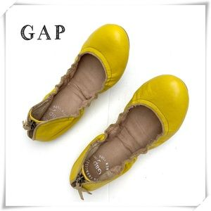 Gap Yellow Leather Scrunch Ballet Flats Shoes